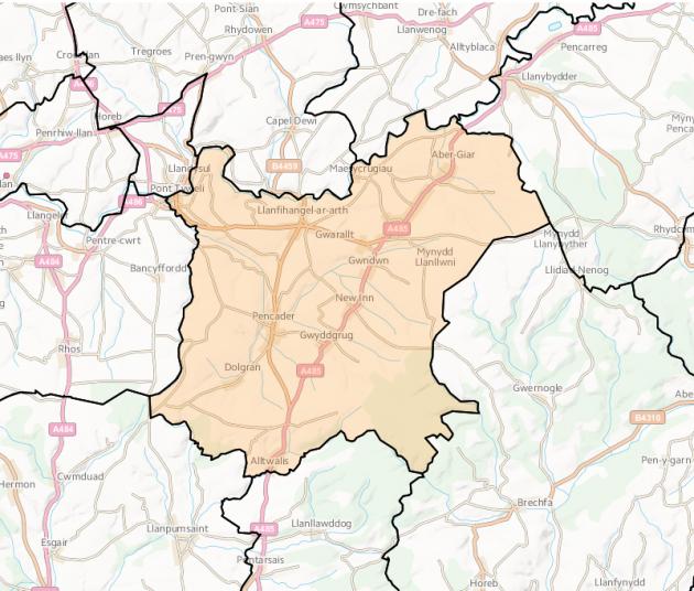 llanfihangel-ar-arth-map